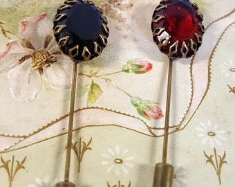 Set of 1940s Cut Glass stick Pins