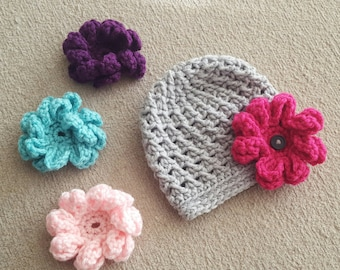 Crochet Grey Textured Stitch Baby Girl Hat with 4 Interchangeable Flowers, Photo Prop, Newborn, 0-3 Months, 3-6 Months, 6-12 Months