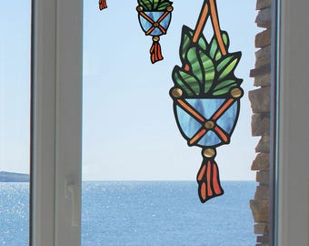 CLR:WND - Hanging Succulent Plant - Design 1 - Stained Glass Style - See-Through Vinyl Window Decal Sticker © YYDCo. (Size Choices)