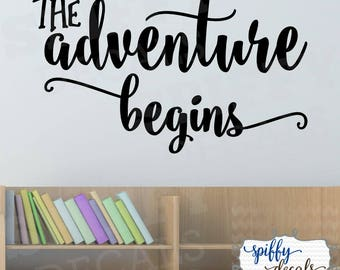 The Adventure Begins Wall Decal Vinyl Sticker Decor Quote Travel Spiffy Decals