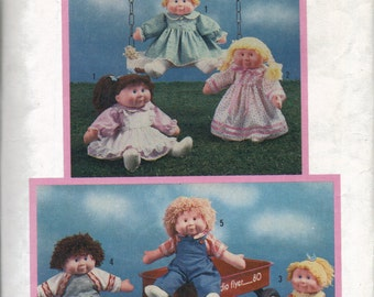 Soft Sculpture Doll Clothes Pattern, 1980s 16 Inch 18 Inch Doll Clothes Pattern, Doll Jogging Suit, Dress, Pinafore, Overalls, Shirt Pattern