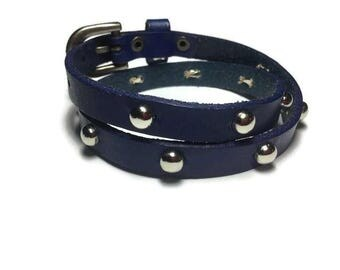 Dark Royal Blue Wrap Bracelet - Studded Wrap Cowhide Leather Bracelet - Studded Wrap Buckle Bracelet