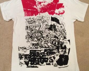 "Sid Vicious print tshirt - Friends of Vicious - Seditionaries Punk T-shirt tee -Sex Pistols -Riot- Pillage- Chaos scene-Unisex Sm 36""-M 38"""