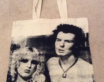 Sex Pistols BAG -Sid Vicious Punk Shopper - Sid & Nancy - Shopping Bag for Life - canvas book bag-vintage rare photo print