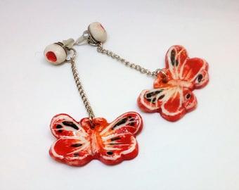Porcelain butterfly earrings. Spring fashion. Porcelain jewelry ,Ear Jacket Earrings
