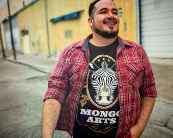 Mongo Arts-Mens Bold Zebra Logo T shirt- DTG -Eco friendly Limited Edition-variation-Hippie shirt/Grateful dead tee/Mongo Arts Family Tribe