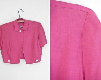1940s BUBBLE Blouse Barbette Brand Split Front Collar Crop Top Carnation Pink