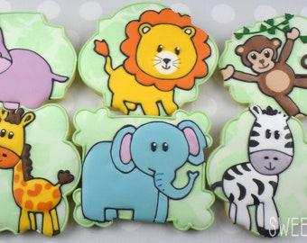 Jungle Animals Sugar Cookies (Set of Six)