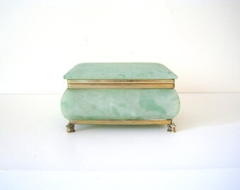 Vintage Seafoam Green Alabaster Box, Made in Italy