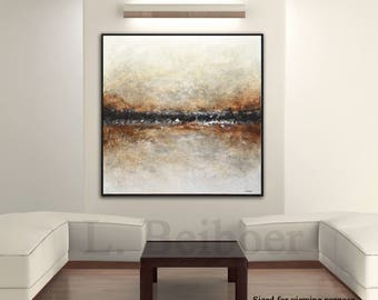 Original contemporary painting large art square neutral abstract oil painting wall art textured painting modern art brown suede by L.Beiboer