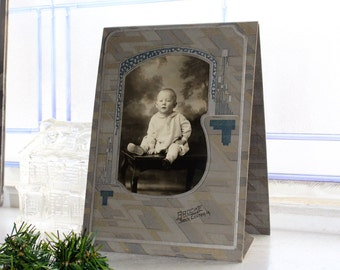 Vintage Photograph Young Toddler Art Deco Frame 7.5 x 5.5 Inches