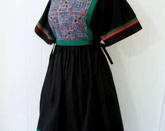 70's Pop Hand Made Boutique Thailand Dress Black Cotton Full Skirt Batik Quilt Applique Side Tie M L
