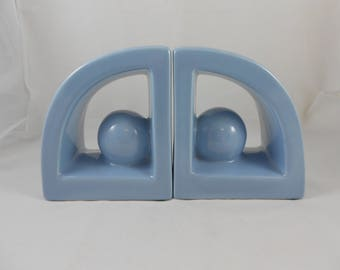 Jaru Art Products Modernist Blue Ceramic Bookends