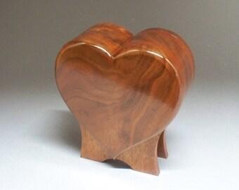 Figured Walnut  Pet Urn-Standing Heart Urn