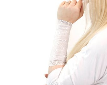 Long Lace Arm Band, Lace Arm Cuff Bracelet, Long Lace Wrist Cuff, Tattoo Cover Up Arm Tattoo Covers White Bridal Sleeve Extender, Scar Cover
