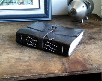 Handmade Leather Journal, Dark Brown Hand-Bound 4.75 x 6 Journal by The Orange Windmill on Etsy 1732