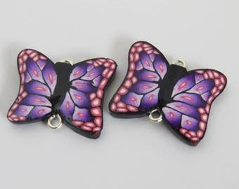 Beads, Butterfly beads, Flat disc bead, DIY craft beads, purple butterfly beads, handmade beads, Purple butterfly, Shygar beads 2 pieces