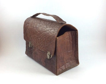 Vintage camera case. Dark brown soft textured leather.  Suitable for old style box cameras. For handheld carrying, no shoulder strap.