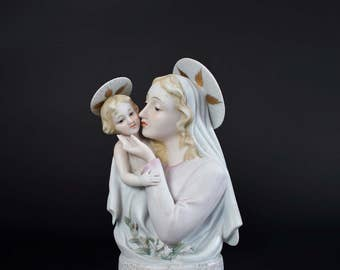 Vintage Lefton Blessed Virgin Mary Planter - Mid Century Porcelain Madonna and Child Figurine - Lefton China Hand Painted Planter KW1550