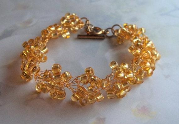 Golden Topaz Wedding Bracelet Gold Plated Wire Bracelet Bridal Wedding Bridesmaids Vinyage Retro Style Jewelry Golden Crocheted Seed Beads