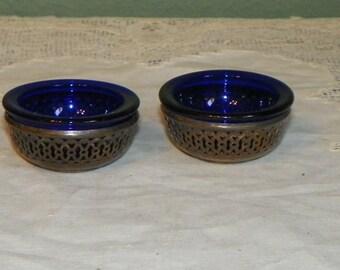 Antique Elegant SALT CELLER Dip Basket COBALT glass Sterling Silver Baskets Open sellar art glass