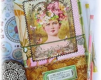 OOAK Fauxdori, Fabric Midori, Fabric Collage Fauxdori, Traveler's Notebook, Free Insert!