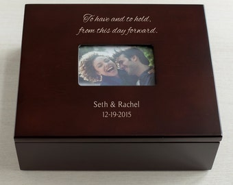 Personalized Wedding Keepsake Box with Photo Lid: Personalized Wedding Gift, Custom Wedding Gift, Wedding Gift for Wife Husband SHIPS FAST