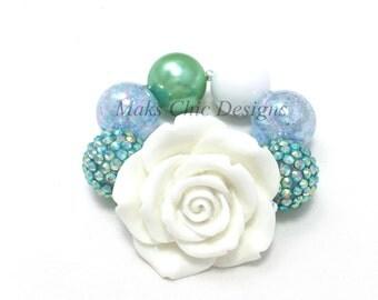 Toddler or Girls Blue, Green and White Chunky Rose Bracelet - Flower Girl Chunky Bracelet - Mermaid Princess Bracelet - Spring Blue Bracelet