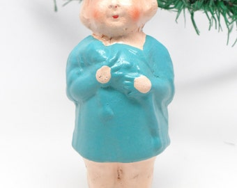 1930's German Doll Christmas Ornament, Pressed Cardboard, Hand Painted