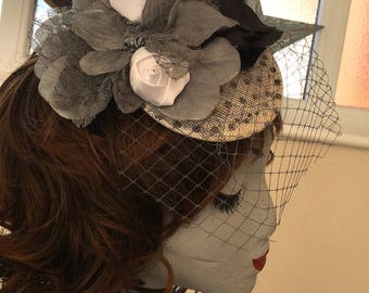 Black White Grey polka dot fascinator flower tilt mini hat