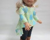 18 inch Girl Doll Clothes - Stretch Denim Leggings and Twirly Top