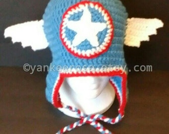 Avengers Captain America Inspired Hat with Ear Flaps - Sizes Toddler - Adult