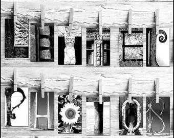 Letter Art Name Art- Individual Letter Art Photos - Alphabet Pictures - Same Day Free Shipping- Free proof - Black & White - Many Sizes