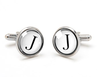 Father's Day Gift - Gift for Dad - Monogrammed Cufflinks - Personalized Initial Cufflinks - Gifts for Groom Best Man and Groomsmen