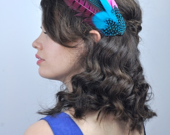 Feather Fascinator Hair Clip in Bright Pink, Turquoise Blue and Purple