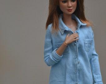 Extra-faded Button-down Denim shirt for Barbie, Dynamite Girls, Poppy Parker dolls