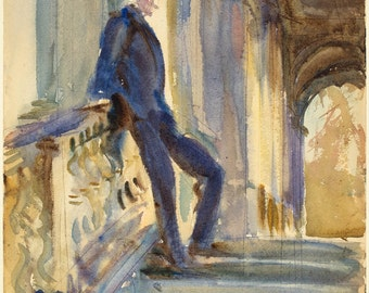 John Singer Sargent Watercolor Reproductions. Man on the Steps of a Venetian Palazzo, 1905 - Fine Art Print.