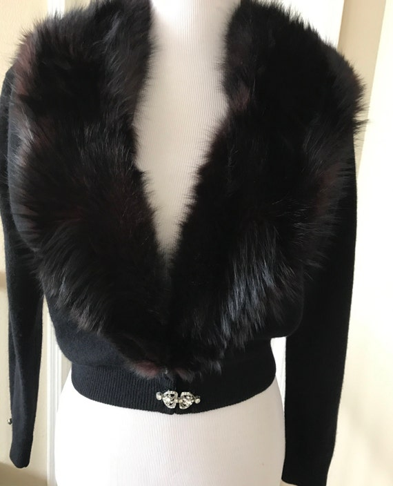 1950's Vintage Black Lambswool and Angora Cardigan Sweater Black Fox Fur Collar