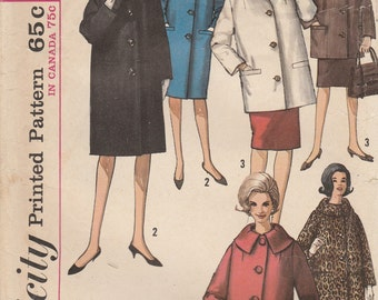 60s Winter Coat Pattern Simplicity 5103 Size 16