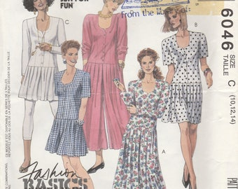 Pleated Drop Waist Dress or Jumpsuit Pattern McCalls 6046 Size 10 12 14 Uncut