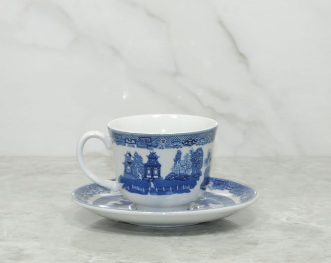Vintage Blue and White Transferware Teacup and Saucer, Blue Willow, Johnson Bros English Transferware