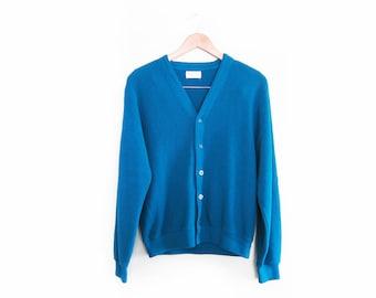 vintage cardigan / grandpa cardigan / oversize / grunge / 1970s deep blue cardigan Medium