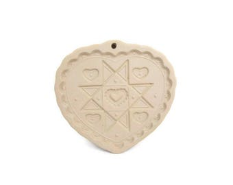 Vintage Cookie Stamp Pampered Chef Homespun Heart Mold Made in USA 1993 Shortbread Sugar Cookie Art Stoneware Clay Valentines Day