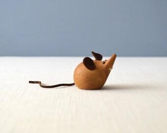 Vintage Danish Modern H + F Teak Mouse Figurine