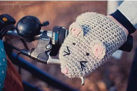 CHRISTMAS SALE Bike gloves, bike mittens,Bike Mouse Handwarmers Gloves Wool Crochet Autumn Fall Winter Unisex Woman Man Teens Gift Cozy Grey
