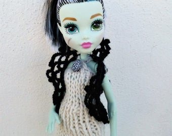 Doll Clothes 12 inch, Monster High Doll Clothes, Ever After High Doll Clothes, Doll Clothing Crochet Vest Bolero Doll Fashion, Daughter Gift