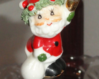 Enesco Mini Bone China Spaghetti Trim Santa Santaclaus Carrying Gift Bag Bell Miniature Vintage Holiday Christmas Figurine