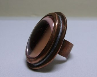 Vintage Rafael Canada Textured Copper Cocktail Ring Large Pink Glass Stone Hand Made Signed 1970's Boho