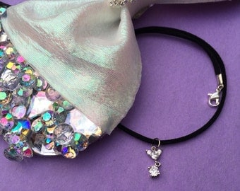 Crystal Mouse Choker Necklace in black faux suede