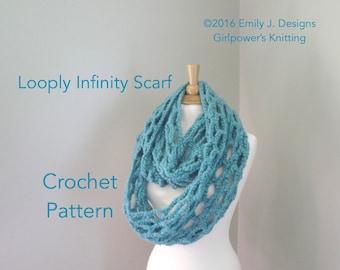 Crochet Pattern, Chunky Infinity Scarf, Long Wrap Scarf, Neck Warmer, Super Chunky Yarn, Loopy Lace